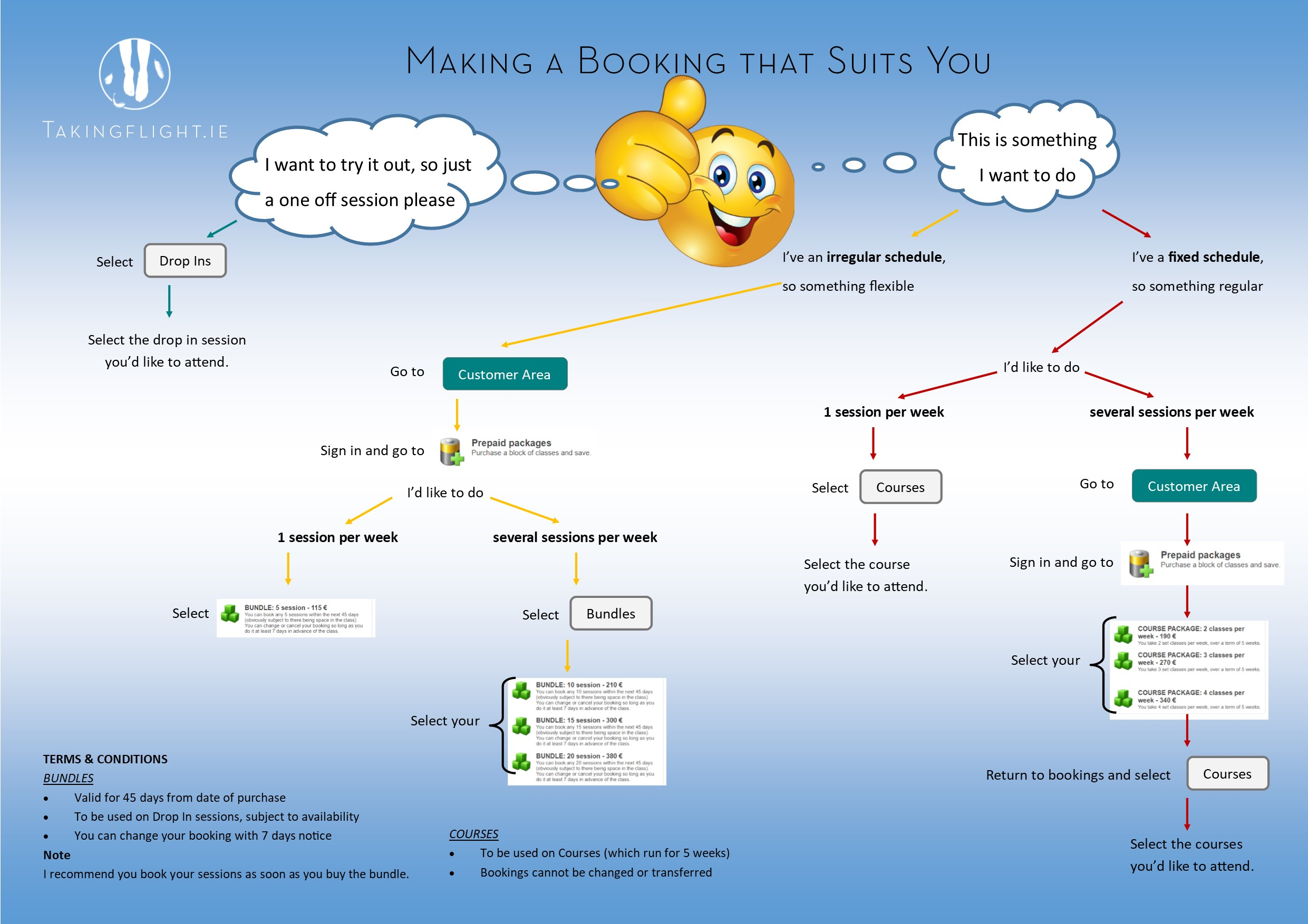 A flow chart of how to book at Taking Flight